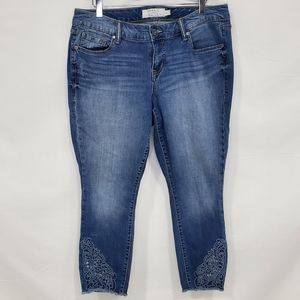Torrid Crop Classic Skinny Embroidered Jeans